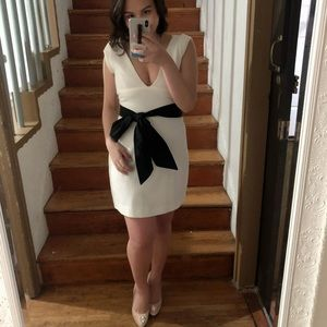 Zara White Dress with Black Waist Tie